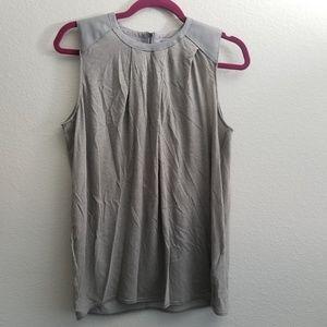 HELMUT LANG Leather-Trimmed Sleeveless Top M Med